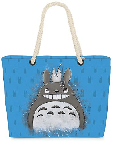 VOID XXL Strandtas Totoro Duo Shoppertas 60 x 38 x16 cm 36L beach bag buurman no anime, Kissen Farbe:Blauw