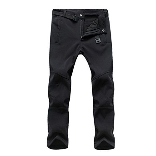 Vertvie Homme Softshell Pantalon de Ski Cargo Doublé Fleece Polaire Imperméable Pants Casual Respirant pour Activité Extérieure Camping Randonnée(S,Noir)