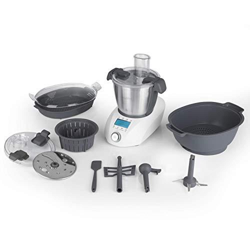 MAXXMEE Thermo-Multikocher - 1000W | Leistungsstarkes Heizelement für großartige Kocherlebnisse | 20 Funktionen in einem Gerät | Zeit-, Temperatur- und Geschwindigkeitseinstellung [weiß]