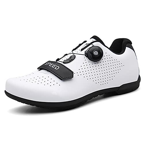 LIXIYU Cycling Shoes Mens Women Non-Slip Breathable Cycle Shoes Road Bike Mountain Bike Flat Bottom Anti-Skid Bicycle Spinning Shoes, white-36(UK3.5)