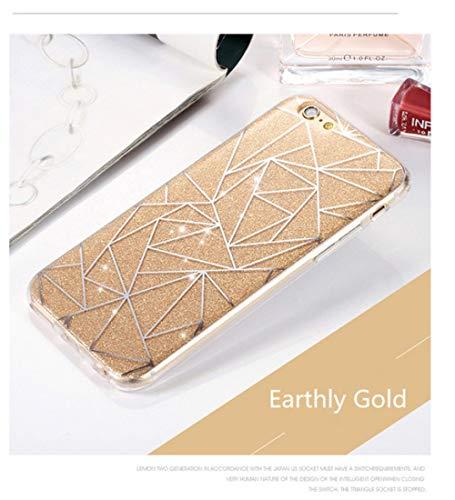 HSXQQL Caja del teléfono móvil Fundas para iPhone X XS 8 7 6 6S Plus Funda Glitter Powder Silver Rhombus Funda de TPU Suave para iPhone 6 6S 5S SE 5 7 8 Plus Capa