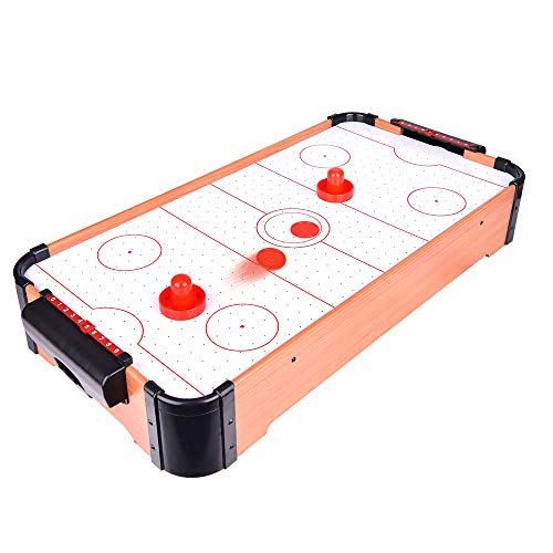 Great Deal! Portzon Electric Air Powered Hockey, Foosball Table Indoor Sports Gaming Set with Equipm...