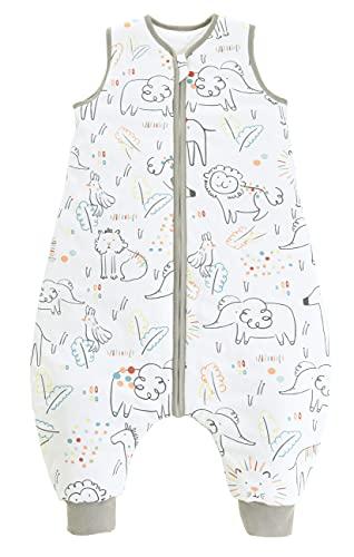 Chilsuessy Saco de dormir para bebé con pies, 2 tog, para todo el año, sin mangas, saco de dormir con piernas para bebés, Happy Zoo, 100 cm, altura del bebé 110-120 cm