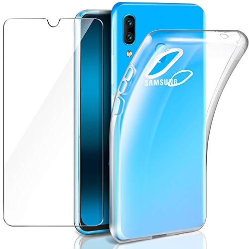 Leathlux Samsung Galaxy A40 Funda + Cristal Protector de Pantalla, Transparente TPU Silicona [Funda + Vidrio Templado] Ultra Fino Protector de Pantalla 9H Dureza HD Carcasas Samsung Galaxy A40