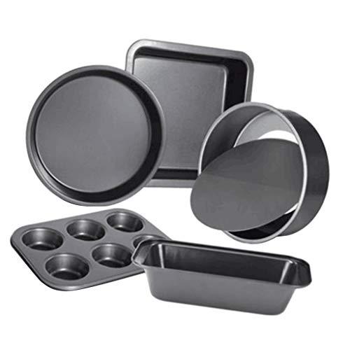 perfk 5 Unids/Set Negro/Acero Dorado Antiadherente Pan Pan Pan Pastel Pan para Hornear Pan para Hornear Pan para Hornear - Negro, Individual