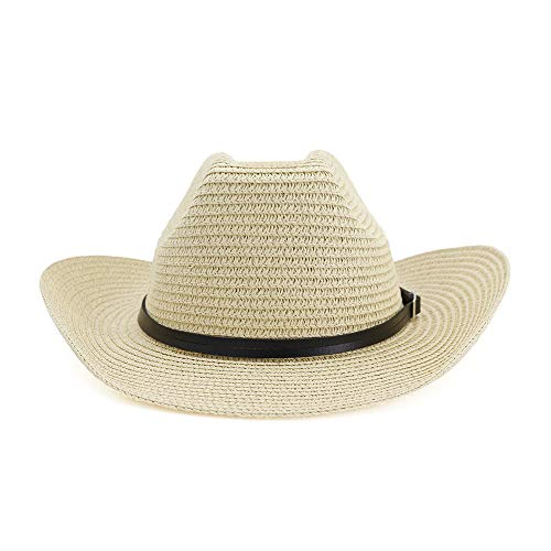 QHDAILY strohoed Cowboy Beach West mannen vrouwen paar riem Outdoor riem strandhoed uitstekende bescherming tegen zon vrijetijdshoed