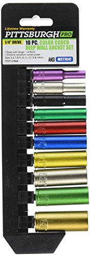 Pittsburgh Professional 10 Piece Color Coded 1/4 Drive Deep Wall Metric Socket Set