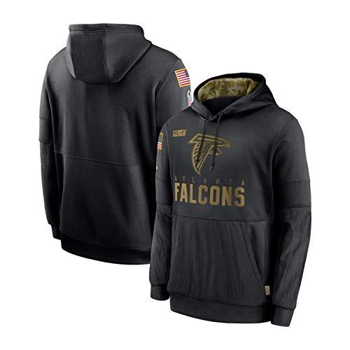 ZWTT Herren Jersey Hooded-Atlanta Falcons Hoodie Sportswear Baumwolle Atmungsaktiv Classic Langarm Sweatshirt Fitness Wear Freizeitjacke-Black-M