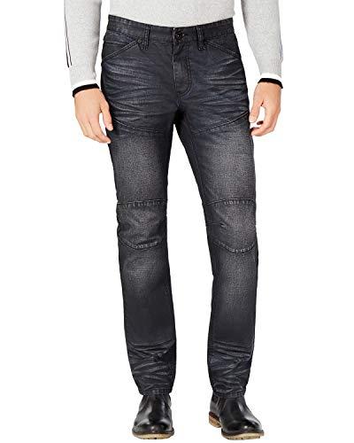 INC Mens Denim Coated Straight Leg Jeans Black 32/32