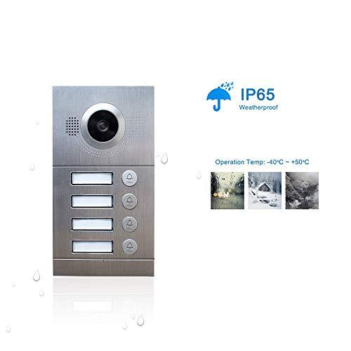 NA Home - Sistema de comunicación de vídeo IP para puerta de teléfono con WiFi, pantalla táctil de 7 pulgadas para 4 pisos de apartamento/8 zonas de alarma inteligente