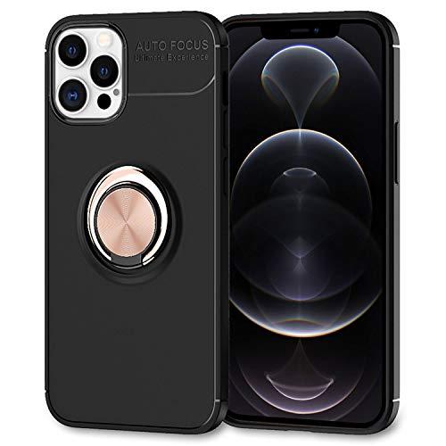 NALIA Ring Handyhülle kompatibel mit iPhone 12 Pro Max Hülle, Silikon Cover mit 360-Grad Finger-Halter für magnetische KFZ-Halterung Schutzhülle Phone Case Handy-Tasche Etui Bumper, Farbe:Rose Gold