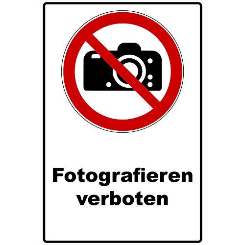 Schild Fotografieren verboten Schild Verbotszeichen Mehrfarbig 30 x 20 x 0,3 cm Hartschaumplatte Warnzeichen Schild Keine Fotos, Fotoverbot