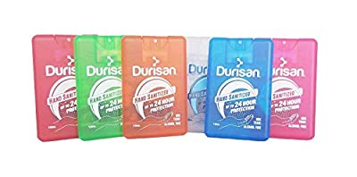 Durisan Travel Hand Sanitizer Alcohol-Free, Long-Lasting, No Odor, Non Toxic, 24 Hour Protection 18 Milliliter Set of 6 Assorted Colors