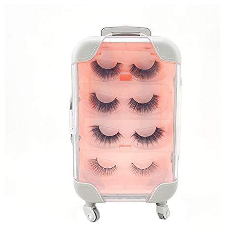 False Eyelashes Packaging Box,Mini Trolley Luggage Lashes Suitcase Jewelry Storage Box Mini Organizer with False Eyelashe (Pink, Big)