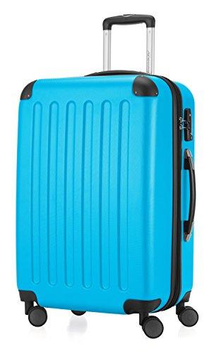 HAUPTSTADTKOFFER - Spree - Hartschalen-Koffer Koffer Trolley Rollkoffer Reisekoffer Erweiterbar, TSA, 4 Rollen, 65 cm, 74 Liter, Cyanblau