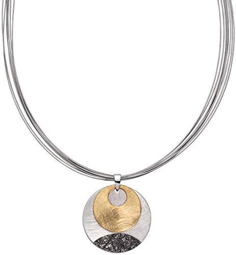 Perlkönig Kette Halskette | Damen Frauen | Sonnenspiel in Schwarz Gold Silber | Rund | Matt strukturiert | Stahlreif | Karabiner | Nickelabgabefrei