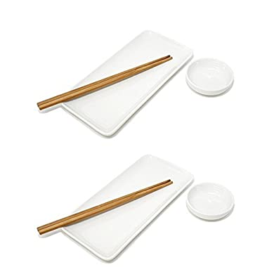 Sushi Plate, Soy Sauce Dish and Chopsticks - White Set of 2, by Umami Tableware
