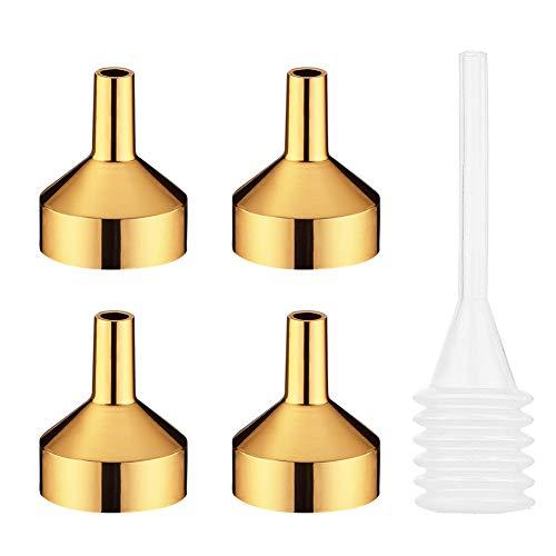 MYLL 4 Piezas Mini Embudo Pequeño de Metal con Pipeta   Embudos Pequeños/Embudo Perfume para Aceite, Muestras y Aceite Esencial (Dia. 18mm, Oro)