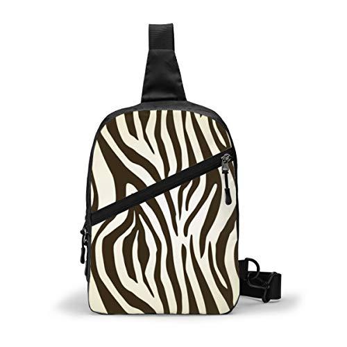 Dark Brown And Cream Zebra Chest Package Multipurpose Crossbody Outdoor Shoulder Bag Daypack Sling Backpack Large Capacity Casual Sport Rucksack for Hiking Travel Sport