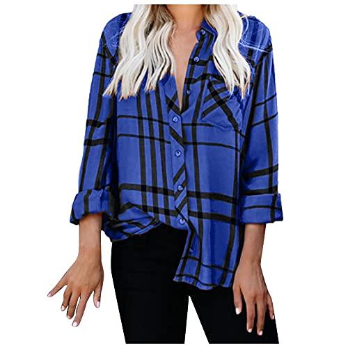 Blusa de manga larga para mujer, a cuadros estampados, botones, azul, XXXXL