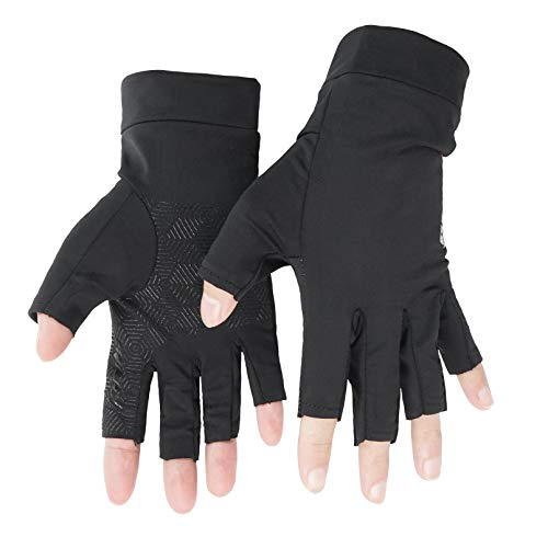 Luwint Grip Fingerless Workout Gloves - Anti Slip Half Finger Fitness Gloves for Men Women with Ice Silk Black