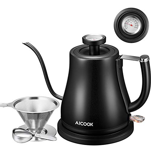 Electric Kettle, Aicook Gooseneck Kettle for Coffee or Tea, Pour Over Kettle with Integrated Thermometer, Stainless Steel Coffee Teapots Kettle with Auto Shut-Off, Boil-Dry Protection, 1000W, 0.8L
