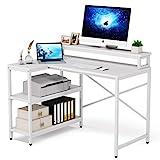 L Shaped Desk with Storage Shelves,...