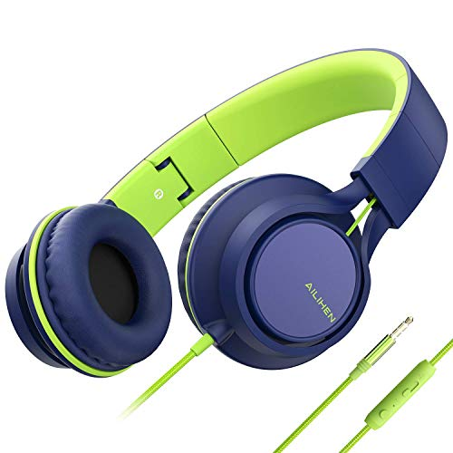 Ailihen C8 Kopfhörer leicht faltbar mit Mikrofon Lautstärkeregelung Musik Headsets 3,5mm für Smartphones PC Laptop Mac MP3 Tablet (Blau Grün)