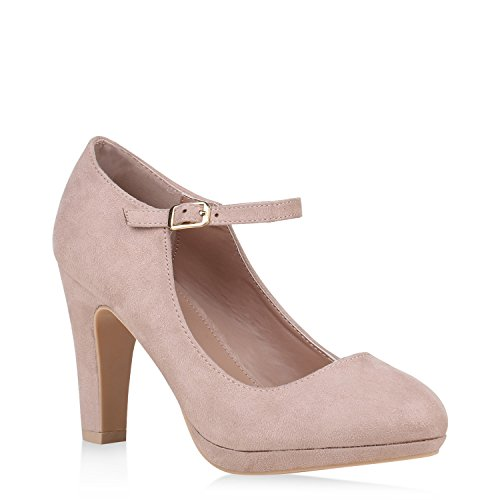 Damen Schuhe Pumps Mary Janes Veloursleder-Optik High Heels Blockabsatz 152891 Creme 38 Flandell