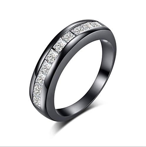 Zirkoon ring ingelegd met edelsteen ring Dames eenvoudige mode-sieraden geschikt voor huwelijksgeschenken zwart goud wit Hao,No. 8