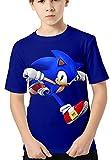 HAOSHENG Anime Camiseta 3D Impreso Niños Verano Manga Corta Sonic FanáticosT-Shirt Harajuku Casual para Niños(140)
