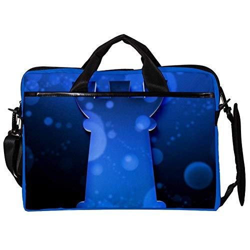 Yuzheng Ajedrez Azul Bolso Bandolera para computadora portátil con Correa para el Hombro Mensajero de Lona Maletín de Transporte Maletín Manga 38.1x27.94x2.54cm