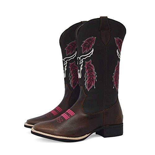 Bota Texana Feminina Bico Quadrado Texas Gold Cara de Boi Marrom Tamanho:38;Cor:Marrom