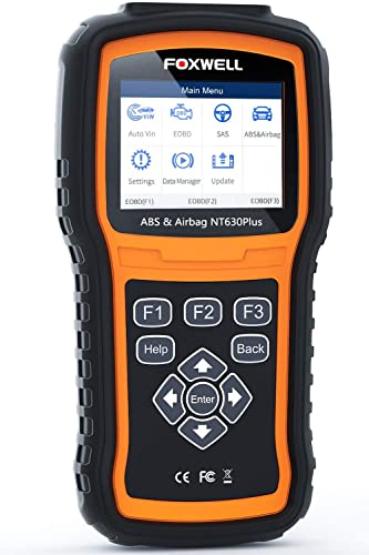 FOXWELL ABS Scanner NT630 Plus ABS Bleed Scan Tool Check Engine Code Reader OBD2 Scanner Airbag SAS SRS Diagnostic Tool 【2021 Upgraded Version English/French】