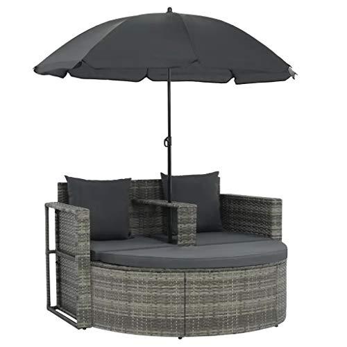 Garten-Sofa, 2-Sitzer, 130 x 58 x 77 cm, 1 Fußstütze, 1 Sonnenschutz, 2 Kissen für die Rückenlehne, 3 Sitzkissen, Grau Polyrattan und Stahlrahmen.
