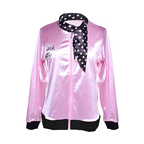 Classic 1950s Women Girls Satin Jacket with Spotted Neck Scarf Halloween Party Costume Coat (Medium) Pink