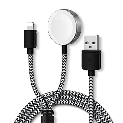 Muljexno 2 in 1 Ladegerät für Uhren, Magnetisches Ladekabel 1,2 Meter für iWatch Ladekabel Kompatibel mit Apple Watch Series SE/6/5/4/3/2/1, 44mm, 40mm, 42mm, 38mm