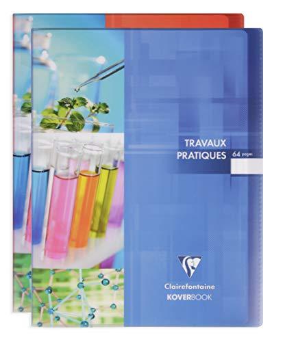 Clairefontaine 980420C - Un cahier travaux pratiques Koverbook 64 pages 24x32 cm grands carreaux 90g et unies blanches 125g, couverture polypro (plastique) transparente, couleur aléatoire