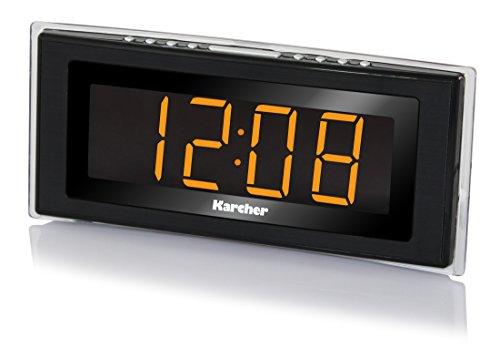 Karcher UR 1080 Uhrenradio (PLL-FM-Radio, Raumtemperaturanzeige, LED-Stimmungslicht, dimmbares Display, Dual-Alarm, Wochenend/Nap/Snooze-Funktion, Sleep-Timer) schwarz