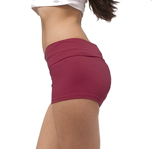 Hollywood Star Fashion Women's Solid Plain Color Yoga Fold Over Shorts Pants (Small, Rhododendron)