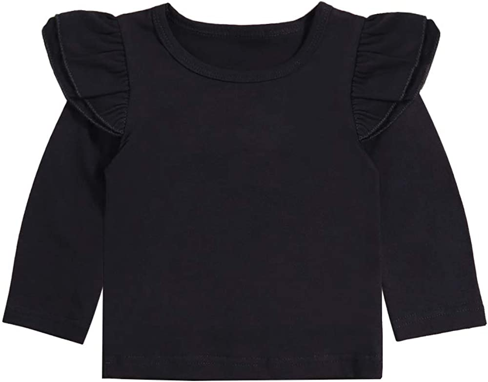Infant Toddler Baby Girl Top Basic Plain Ruffle Tee Long Sleeve T-Shirts Blouse Clothes