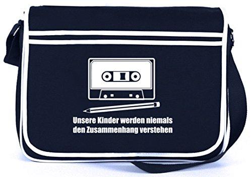 Shirtstreet24, Bleistift - Kassette, Retro Messenger Bag Kuriertasche Umhängetasche , Größe: onesize,Navy