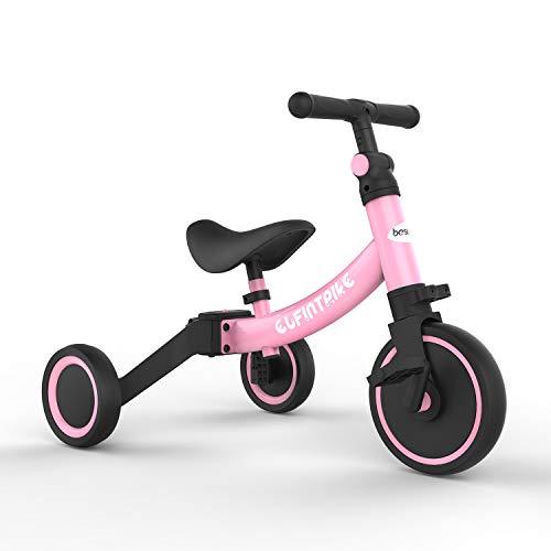 besrey Kinder Dreirad Laufrad Kinderlaufrad Rutschenrad mit Pedal, 5 Verschiedene Modi für Baby von 1 bis 4 Jahren - Rosa