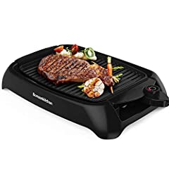 🍒 ️Indoor BBQ Grill---You can enjoy BBQ grilling with your family at home at any time with this smokeless electric grill. No worry about polluting your home or the entire apartment with the smell of smoke. 🐟 Fast Heating---1000W electric griddle with...