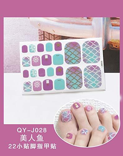 BGPOM Foot Stickers Nail Stickers Nail Stickers Fully Waterproof Lasting 3D Toenail Stickers Patch 10 Sheets/Set,Mermaid (QY-J028)