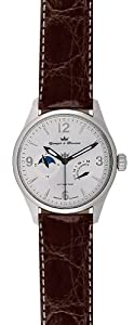 Yonger and Bresson Men's YBH 8314-04 C Automatic Brown Calfskin Moonphase Watch image
