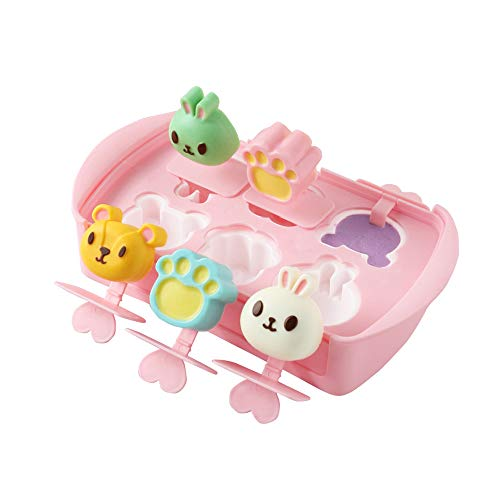 Popsicle Molds Silicone,Cute Bear Ice Pop Mold with Protective Lid,Food Grade Silicone Mini Animal Ice Cream Maker for Children,Reusable Easy Release Molds,Popsicle Maker Set,DIY Popsicle Homemade