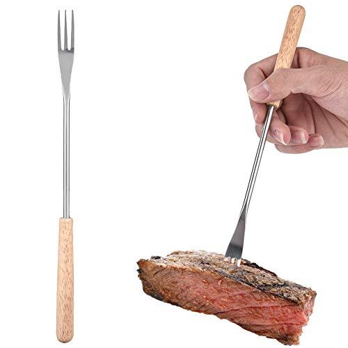 Cafopgrill Holzgriff BBQ Fork, Fonduegabeln Edelstahl, Edelstahl Hot Dog Gabel Barbecue Sticks Bratstangen Marshmallow Roasting Käse Schokolade Obst Fondue Gabeln 26,5 cm
