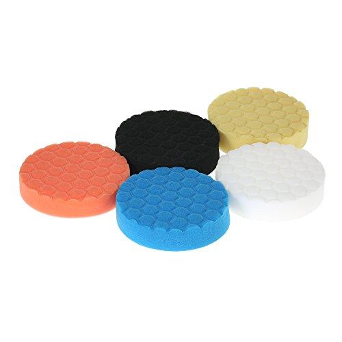 KKmoon 5PCS 5 Inch 125mm Polierschwamm Polierset Polierteller Polierpad für Poliermaschine Auto Reinigung Haushalt Möbel Waschen Sauber Machen 5 Farben Blau Orange Gelb Weiß Schwarz