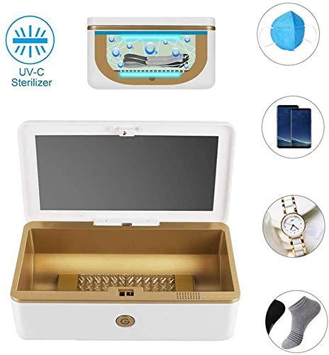 Uvsterilisator Box, Phone Draagbare Multi-Function UV-Licht Disinfector Voor Alle Telefoons Salon Gereedschap Glazen Servies Makeup Brushes Tandenborstel Horloge Sieraden Ondergoed,White